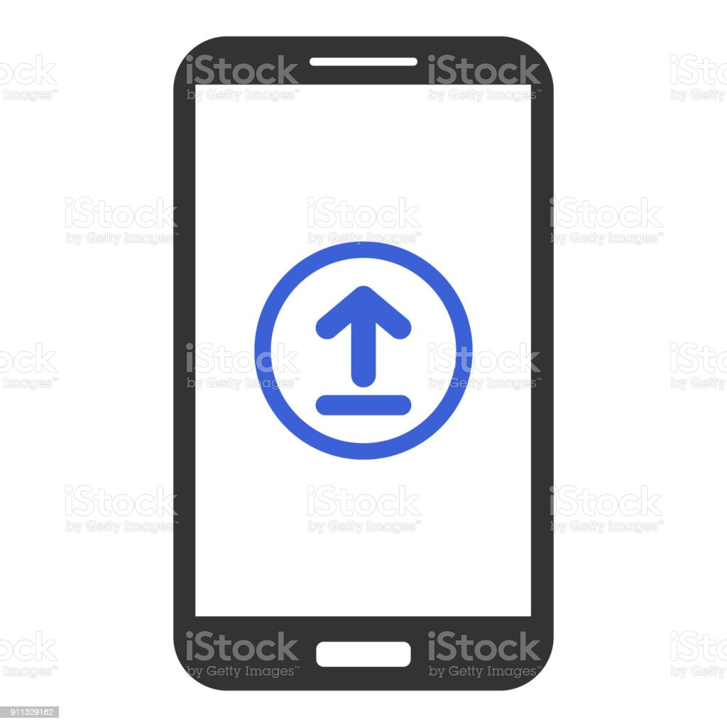 Smartphone With Upload Button On Screen Vector Icon Stock Vector Art
