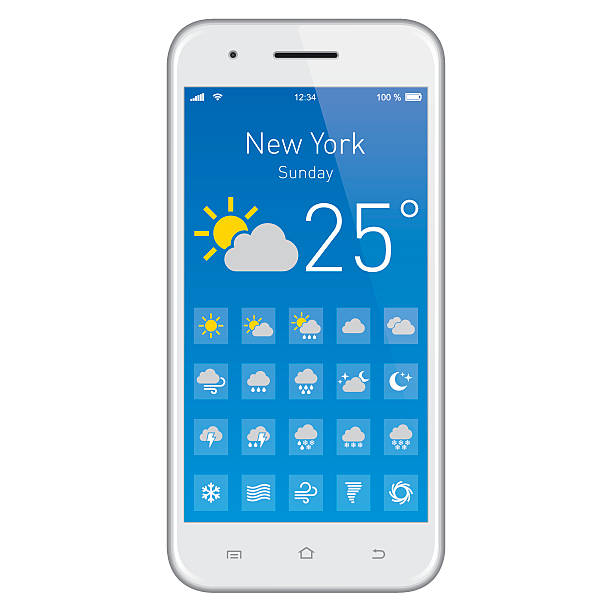 Smartphone with Weather App. Smartphone with Weather App. EPS10 layers (removeable) and alternate formats (hi-res jpg, pdf). forked lightning stock illustrations