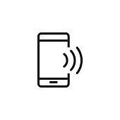 Smartphone with wi-fi line icon. Phone speaker, Bluetooth, mobile internet. Communication concept. Vector illustration can be used for topics like wireless technology, connection, internet