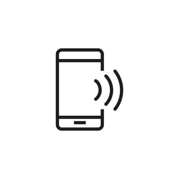 Smartphone with wi-fi line icon Smartphone with wi-fi line icon. Phone speaker, Bluetooth, mobile internet. Communication concept. Vector illustration can be used for topics like wireless technology, connection, internet bluetooth stock illustrations
