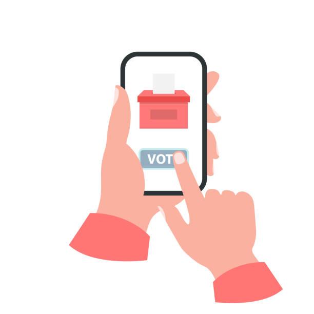 Smartphone your hand concept. Vote vector art illustration