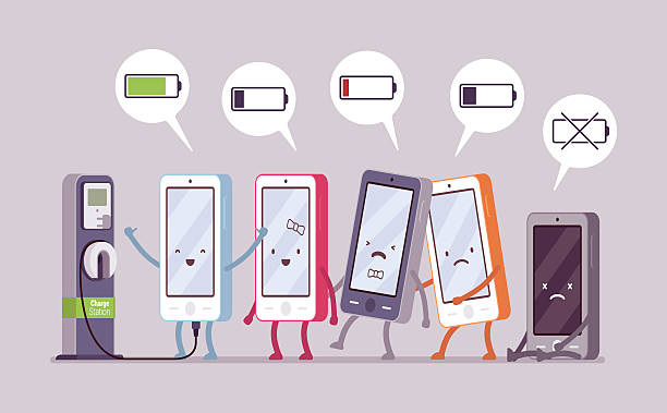 Smartphones are charging near the station Smartphones are charging near the station in a line, battery status in a cloude. Cartoon vector flat-style concept illustration electric vehicle charging station stock illustrations