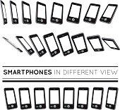 Smartphones in different view.