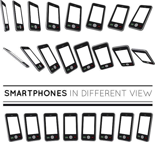 Smartphones in different view. vector art illustration