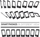Smartphones in different view.