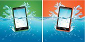 Smartphones in water with splash  - modern vector Illustration