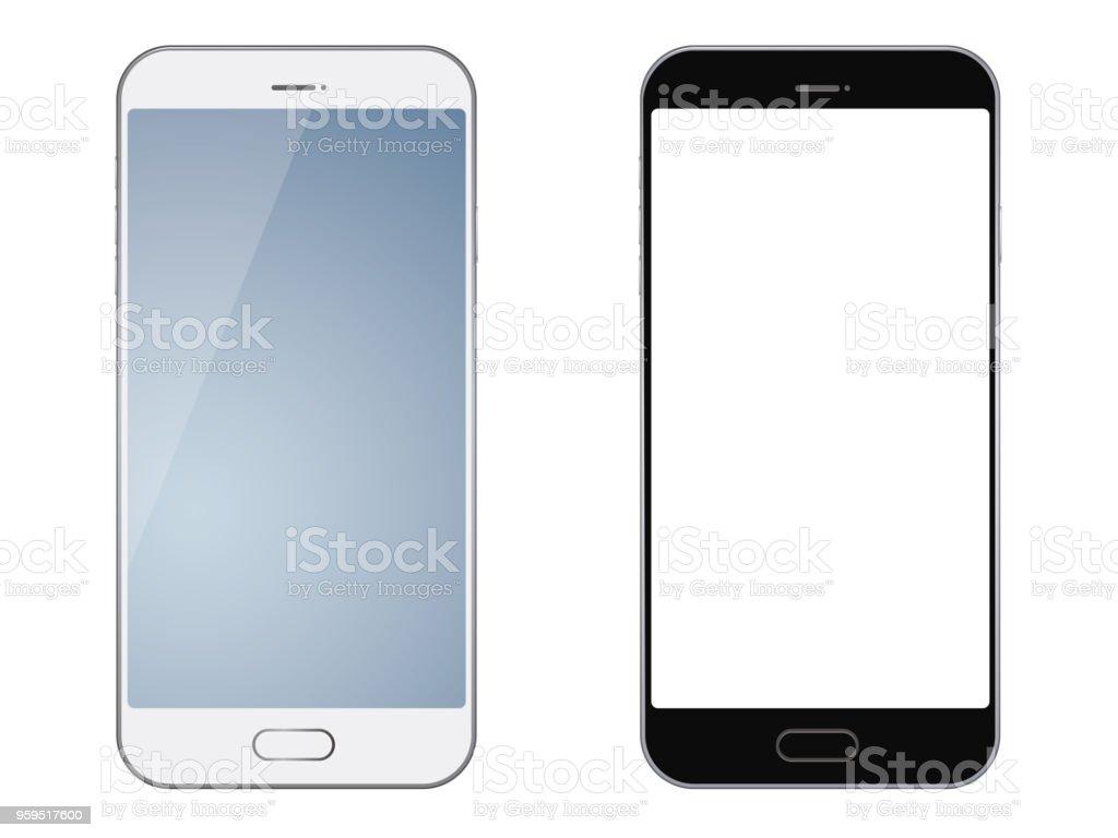 Smartphones aislados sobre fondo blanco. ilustración de smartphones aislados sobre fondo blanco y más vectores libres de derechos de blanco - color libre de derechos