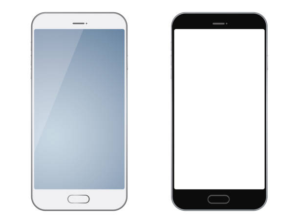 smartphones isolated on white background. - smartphone stock illustrations