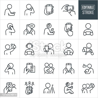A set of smartphones icons that include editable strokes or outlines using the EPS vector file. The icons include people using smartphones in different ways and include a person looking at a smartphone, person talking on their mobile phone, hand holding a smartphone, person texting on a smartphone, person listening to music on their smartphone, person watching their smartphone, person taking a selfie with their mobile phone, person driving while on their smartphone, person using their smartphone to make a purchase, person taking pictures with their smartphone, accessing social media on a smartphone and other related icons.