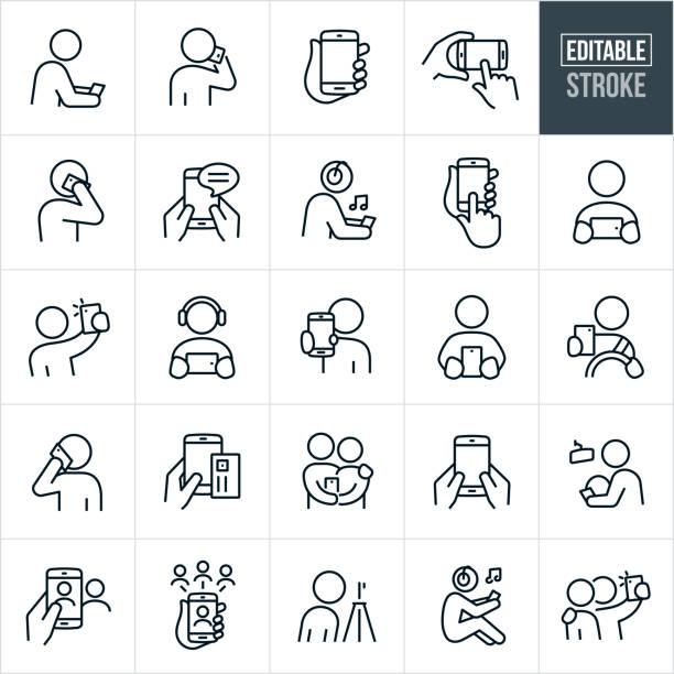 stockillustraties, clipart, cartoons en iconen met smartphones thin line icons - bewerkbare stroke - selfie