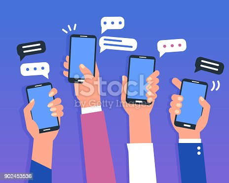 Hands holding smartphones. Social media chat concept. Flat style vector illustration.