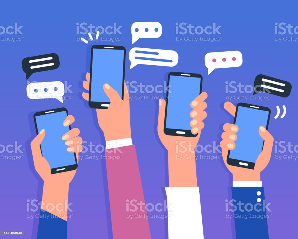 smartphones vector art illustration