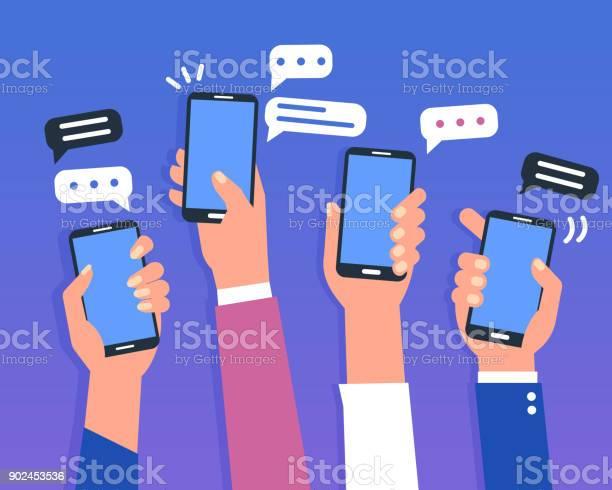 스마트폰 고객 참여에 대한 스톡 벡터 아트 및 기타 이미지