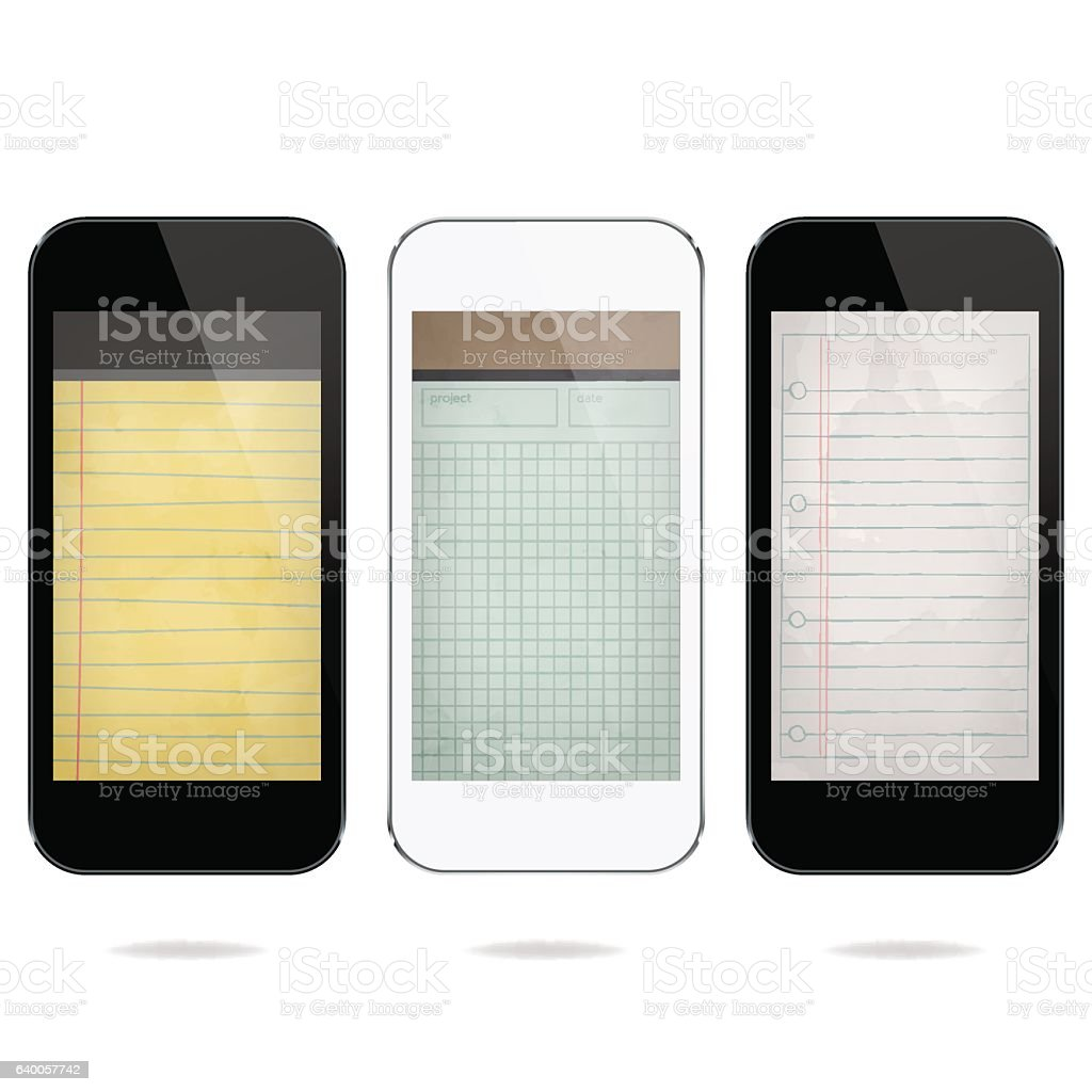 Smartphones with notepad apps – Vektorgrafik