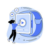 istock Smartwatch as portable media player abstract concept vector illustration. 1312093623