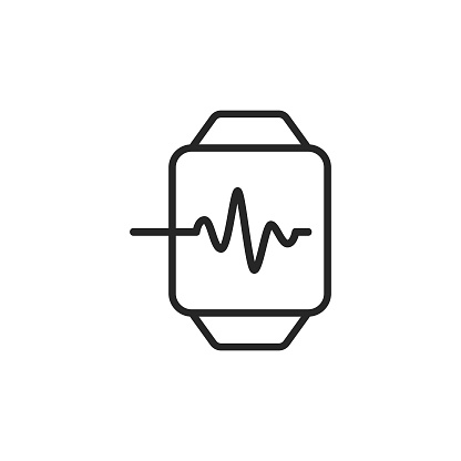 Smartwatch, Digital Health, Heartbeat Line Icon. Editable Stroke. Pixel Perfect. For Mobile and Web.