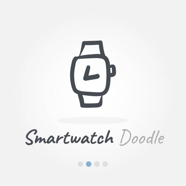 smartwatch doodle icon vector art illustration