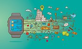 Colourful smart watch doodle with application and elements. EPS8 - Vector illustration. High resolution JPG and AICS3 files are included