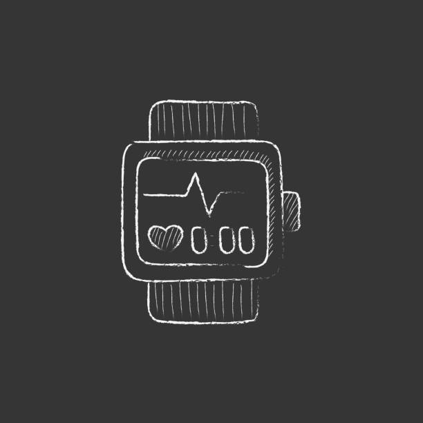 Smartwatch. Drawn in chalk icon vector art illustration