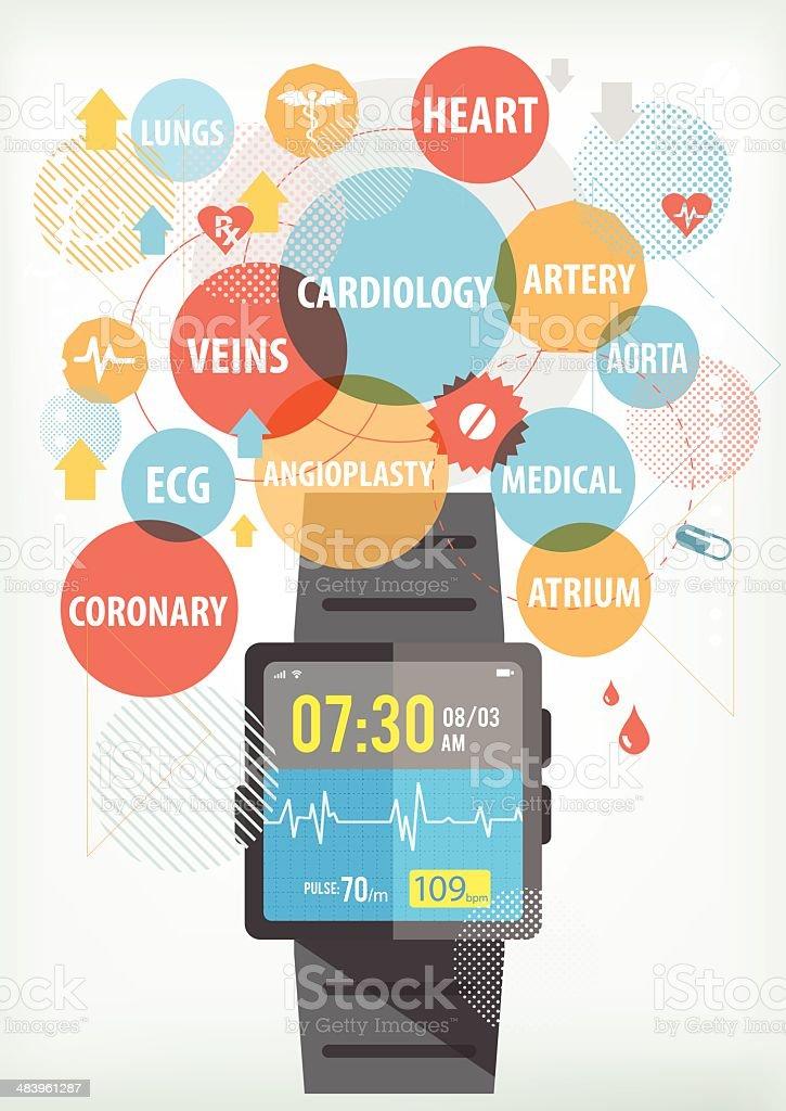 Smartwatch for cardiac vector art illustration