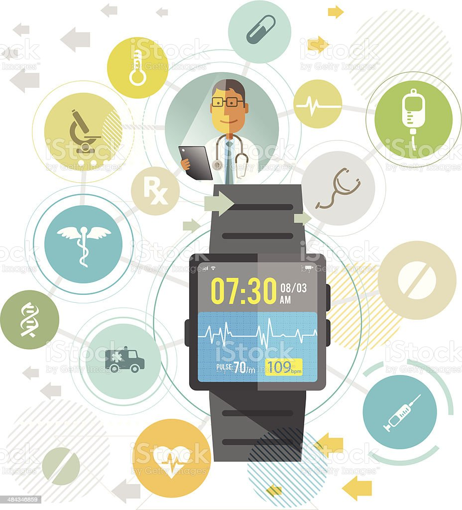 Smartwatch for healthcare vector art illustration