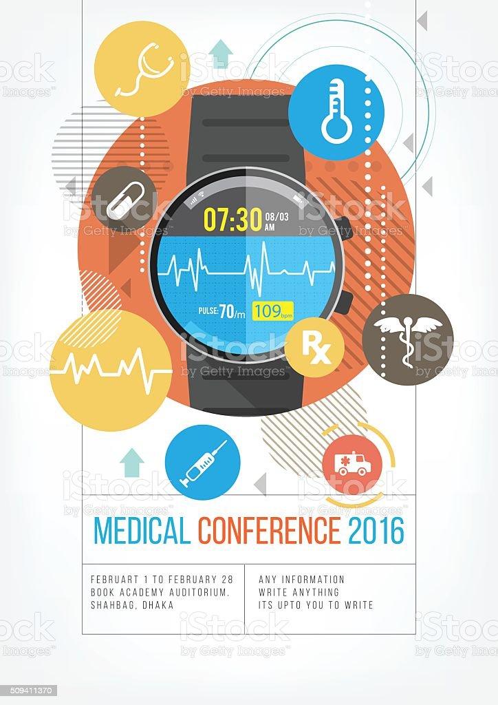 Smartwatch for healthcare vector art illustration