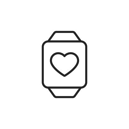 Smartwatch Healthcare App Line Icon. Editable Stroke. Pixel Perfect. For Mobile and Web.