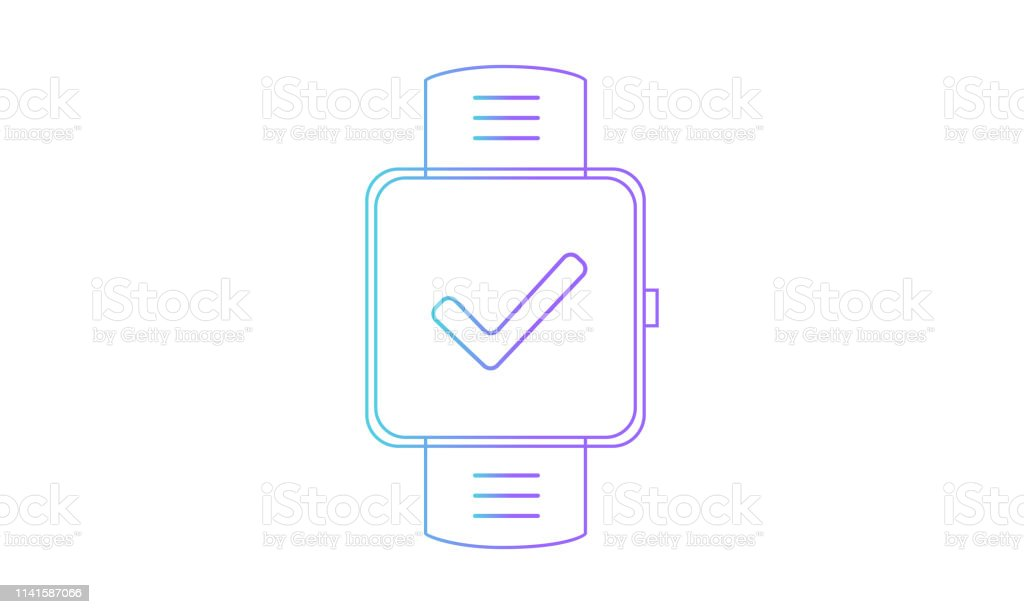 Smartwatch Icon Smartwatch Checkmark Icon Outline Gradient