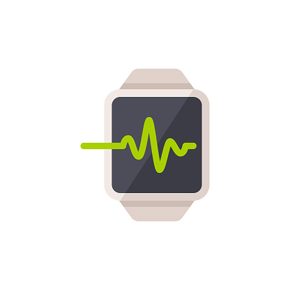 Smartwatch with Pulse Trace Flat Icon. Pixel Perfect. For Mobile and Web.