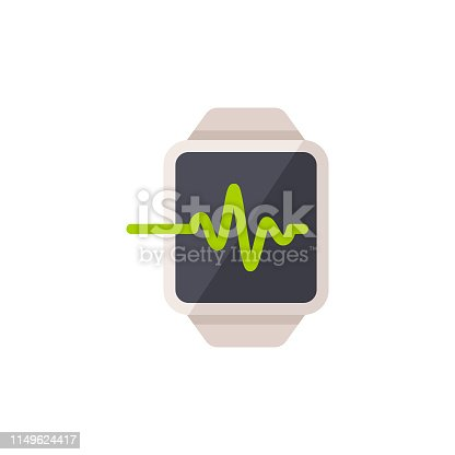 Smartwatch with Pulse Trace Flat Icon.