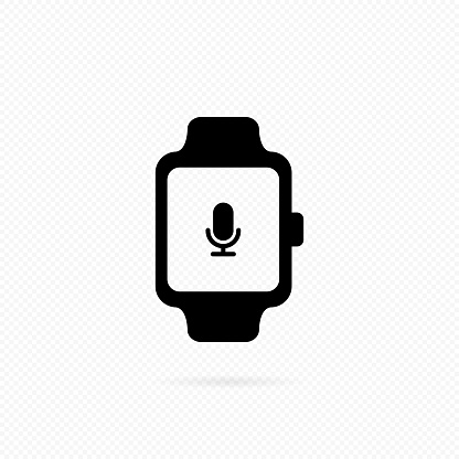 Smartwatch with voice assistance. Voice controlled siri personal assistant with sound commands. Smart watch line icon. Media player on watch. Vector on isolated transparent background. EPS 10.