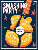 Concert poster or flyer template featuring smashed guitar and stars. Retro syle