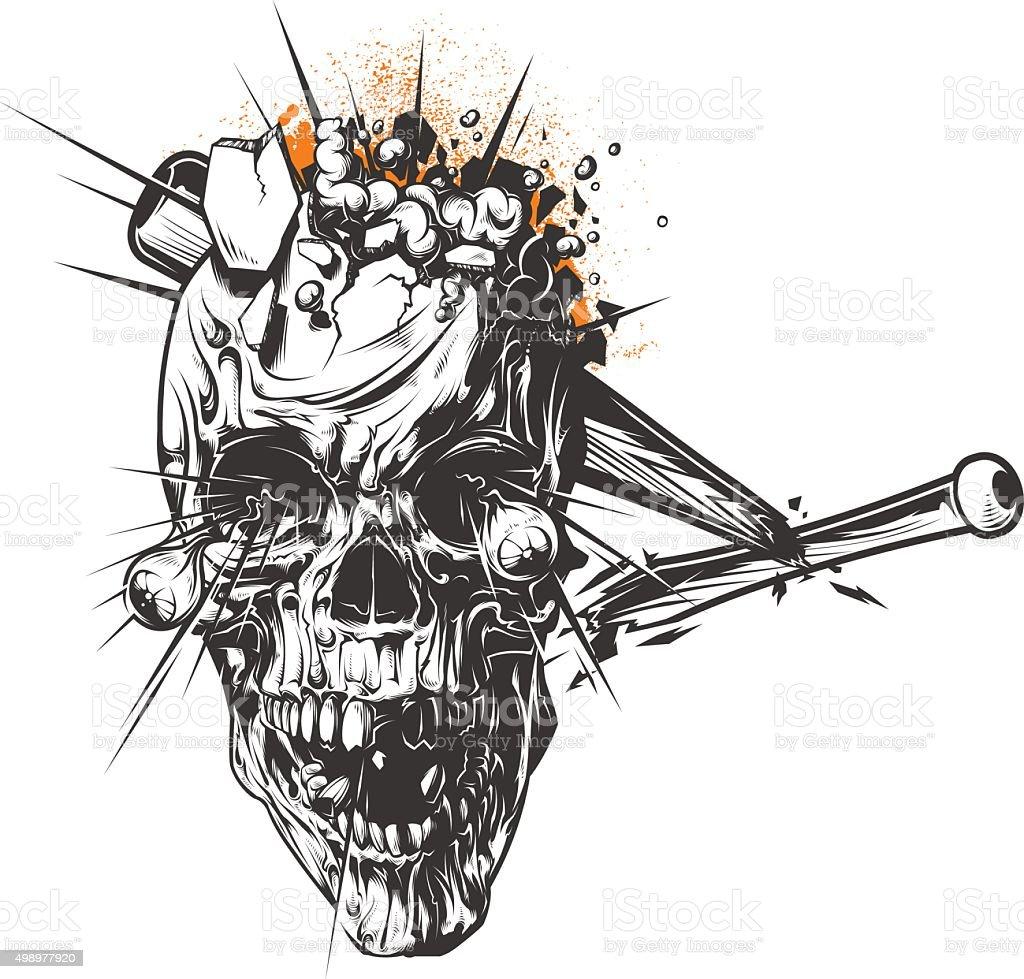 Smashed Skull vector art illustration