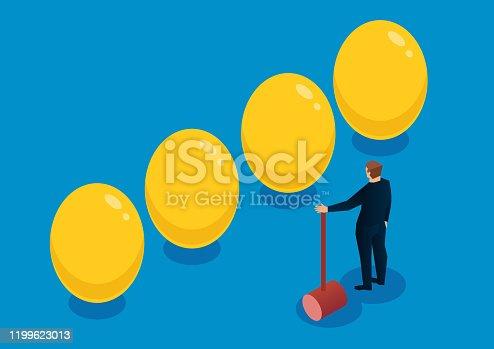 Smashing golden eggs, businessman chooses golden eggs with hammer.