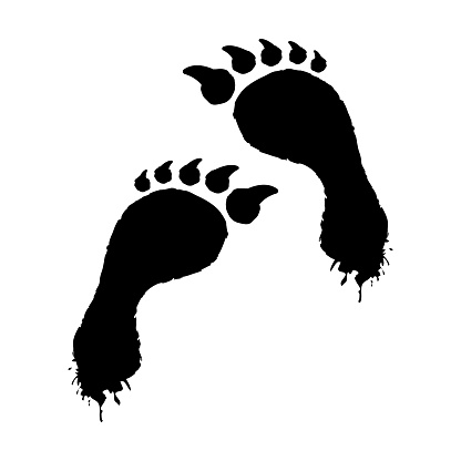Smeared werewolf footprints icon. Black footprints mystical creature with human foot and sharp claws dangerous mutant.
