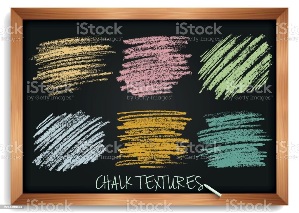 Smears are chalk. Vintage textures on a blackboard. High resolution image. Pastel shades of brushes. Template for registration of stickers, banners, posters. Stock vector. vector art illustration