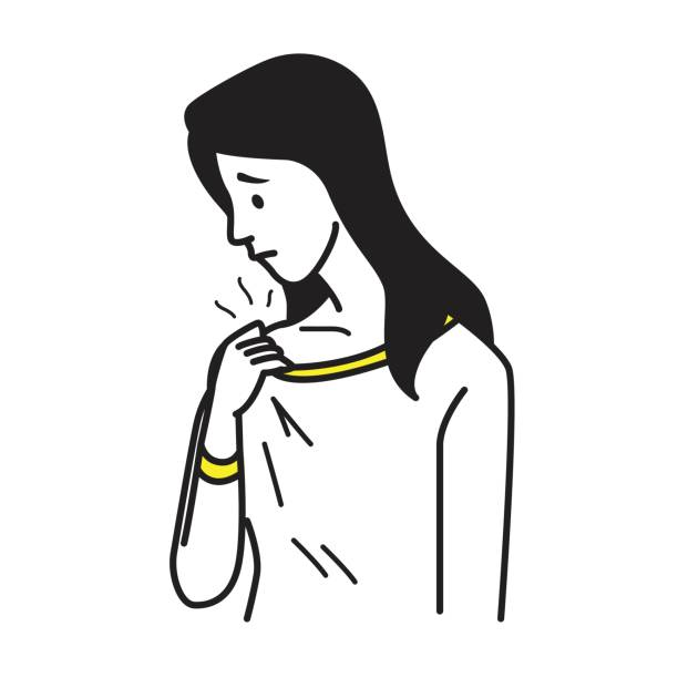 Smell cloth badly Vector illustration portrait of woman holding t-shirt, and smell somethink stinks, sniffs herself. Healthcare concept in hygiene of body and clothes. Outline hand draw sketching design, simple style. wet clothing women t shirt stock illustrations