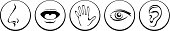 Smell, taste, touch, sight, hearing sense icons