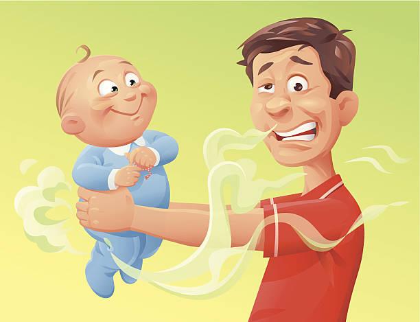Smelling Baby vector art illustration