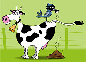 A cow that emits methane. A bird wearing a gas mask is placed on it.