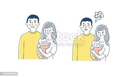 istock Smile and troubled facial expression of a family of three 1328993684