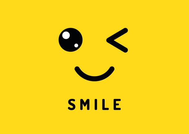 illustrazioni stock, clip art, cartoni animati e icone di tendenza di smile and winking. happy smiling face, funny wink isolated on yellow background. laughter and smiles vector banner - fare l'occhiolino