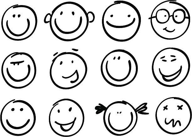 スマイル艶消し - 笑顔点のイラスト素材/クリップアート素材/マンガ素材/アイコン素材