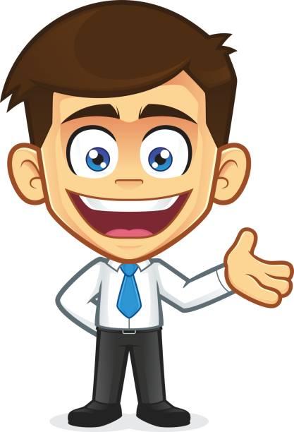 Lächeln, winken Geschäftsmann – Vektorgrafik