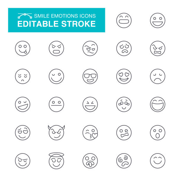 smile editable stroke icons - confused emoji stock illustrations, clip art, cartoons, & icons