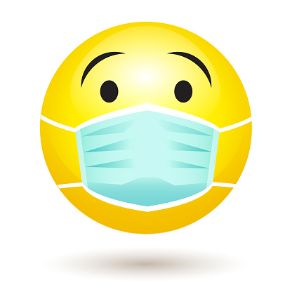 Smile emoji wearing a protective surgical mask. Icon for coronavirus outbreak.