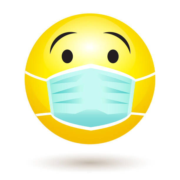 smile emoji wearing a protective surgical mask. icon for coronavirus outbreak. - mask stock illustrations
