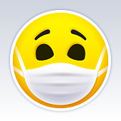 Smiling face wearing face mask emoji face person vector design.