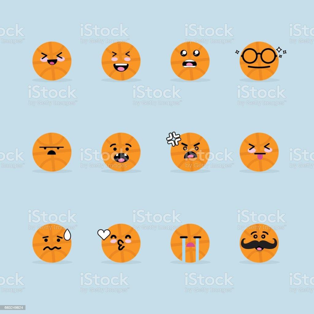 미소 얼굴 바구니 공 royalty-free 미소 얼굴 바구니 공 갈색에 대한 스톡 벡터 아트 및 기타 이미지