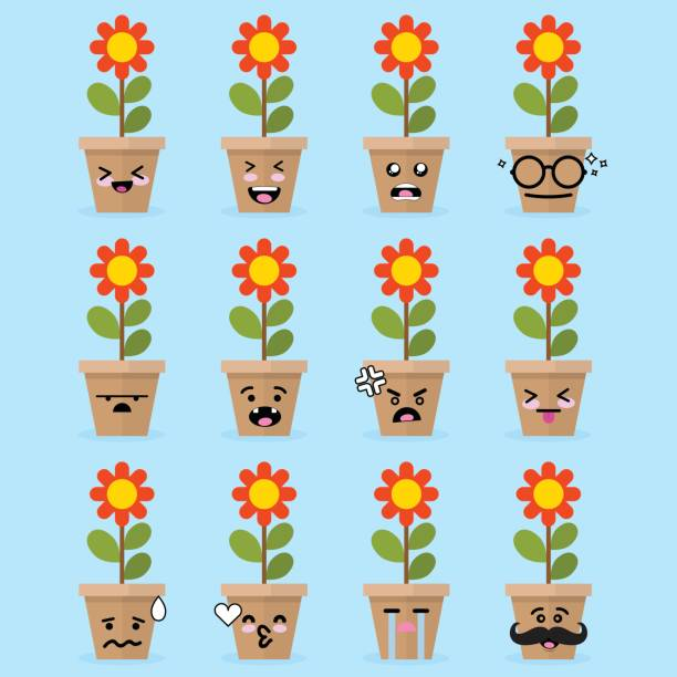 Royalty Free Yellow Flower Vase Cartoon Clip Art Vector Images